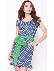 Fit Vintage Polka Dot Falda azul de unifo Mostrar Mujeres