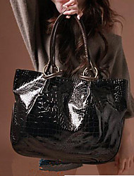 Lady Fashion Crocodile Veins PU Leather Tote(Black)