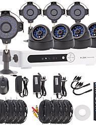 8ch canal D1 DVR CCTV kit de système de sécurité (4pcs +4 pcs dôme / balle caméras avec 420TVL CMOS 1/4)