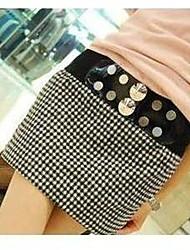 INNA Women's  Tweed Cute Elastic Rivet Belt Dress