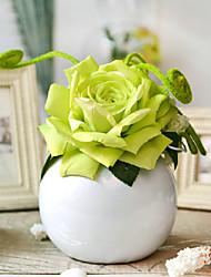 """8.75""""Green Rose Arrangement With Round Ceramic Vase"""