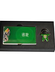 Personalizado verde chinês Opera Estilo Gravado Negócios Titular com Chaveiros
