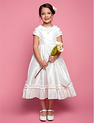 A-line Princess Tea-length Flower Girl Dress - Taffeta Jewel with Flower(s) Ruffles Sash / Ribbon