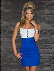 Hongmi Sexy Srap patrón de empalme del partido Vestido ajustado (azul)