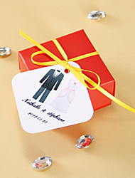 Personalized square tags - Tuxedo and Gown (set of 36)