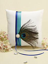 Blue Stripe With Peacock Feather White Ring Pillow