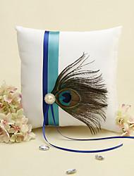 Striscia blu con piume di pavone Bianco Anello cuscino