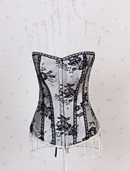 Sexy Lingerie Polyester-mixed Cotton Plastic Boned Lace-Up Corset Bustier and G-string Set Shaper