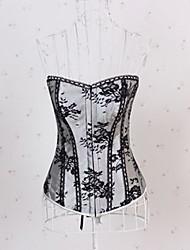plástico algodão lingerie sexy de poliéster-mistura desossada lace-up corset bustier e g-string conjunto shaper