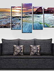 Stretched Canvas Print Art Landscape Waterfall in Sunset Set of 5