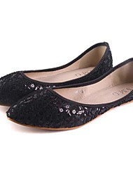 KAFU Lace Cut Out Sequins Pointed Toe  Flat Shoes(Black)