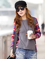 YGR Women's Screen Color Split Joint Check Loose Shirt