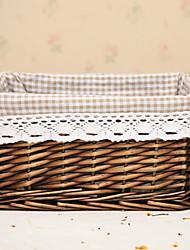 Classic Coffee Rattan Basket archiviazione