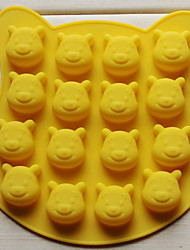 Lovely Bear Shape Chocolate Mould, Sixteen Holes, Silicone(Color Randoms)
