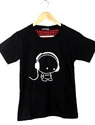 Summer Children Listening to Music Pattern Pure Cotton Short Sleeve Luminous T-shirt