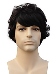 Capless High Quality Synthetic Short Curly Natural Black Man'S Wigs