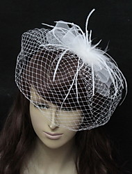 Wedding Veil One-tier Blusher Veils Organza White / Black A-line, Ball Gown, Princess, Sheath/ Column, Trumpet/ Mermaid