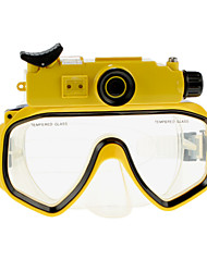 5.0 MP HD 720P Micro SD impermeabili Occhiali Diving Mask fotocamera digitale con display LCD 5.0MP CMOS Sensor Giallo-Screen