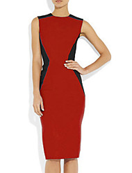 Women's Formal Sheath Dress,Color Block Crew Neck Knee-length Sleeveless Blue / Red / Green All Seasons