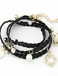 Women's European Style Fashion Heart Coin Wrapped Multilayer Rope Charm With Imitation Pearl Bracelet