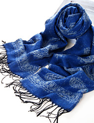 National Style Acrylic Fiber Royalblue Warm Winter Scarf with Tassels