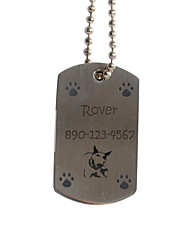 Personalized Gift Dog's FootPrint Pattern Pet Id Name Tag with Chain  for Dogs