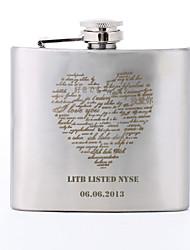 Cantil Para Bebidas Presente personalizado Coração Padrão 150 ml letras maiúsculas metal Flask