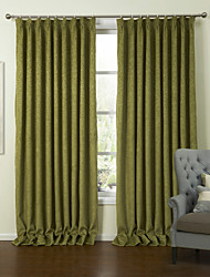 European Two Panels Solid Green Living Room Polyester Panel Curtains Drapes