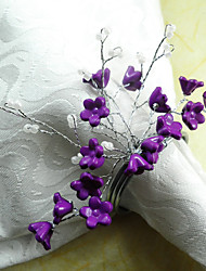 Purple Flower Acrylic Beads Napkin Ring, Dia4.2-4.5cm Set of 12