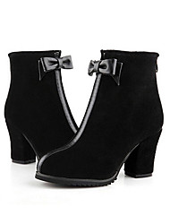 Maibu Bow Decorative Frosted Mid Heel Boots