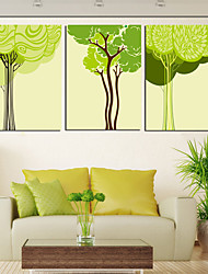 Stretched Canvas Print Art Botanical Slim Tree Set of 3