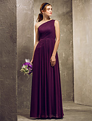 Floor-length Chiffon Bridesmaid Dress - Grape Plus Sizes Sheath/Column One Shoulder