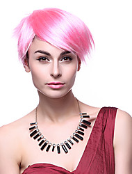 Capless High Quality Synthetic Short Straight Pink Party Wigs