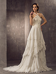 Lanting Bride® Sheath / Column Plus Sizes / Petite Wedding Dress - Classic & Timeless / Elegant & Luxurious Court Train Halter Chiffon