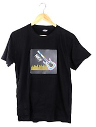 Music Activated Flashing Colorful Equalizer Rock Guitar Pattern LED T-shirt