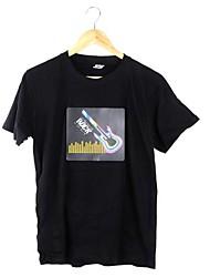 Музыка Активированный мигающий красочные картины Эквалайзер Рок Guitar LED футболку