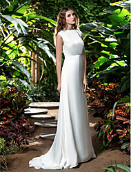 LAN TING BRIDE Sheath / Column Wedding Dress - Classic & Timeless Simply Sublime Sweep / Brush Train Bateau Chiffon with