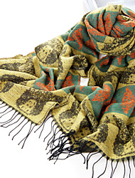 Owl Pattern Acrylic Fiber Green+Yellow Warm Winter Scarf with Tassels