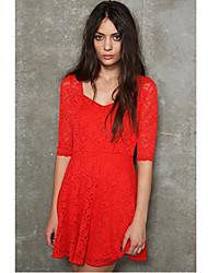 Aifei 1/2 Longueur mini robe de dentelle (rouge, blanc)