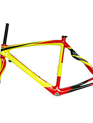 700C Full Carbon Red+Yellow Road Bicycle Frame with Front Fork