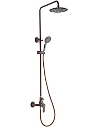 Contemporary Brown Painting Finish Three Holes Single Handle Sidespray Waterfall Shower Faucet