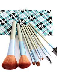 Pro 9 PCs Nylon Hair Makeup Brush Set with Trellis Design Pouch