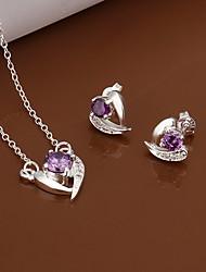 chapado en plata dulce de cobre (collares&pendientes) (púrpura)
