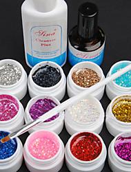 15PCS 12 Farbe 8ML Pailletten UV Color Gel Nail Art Set C