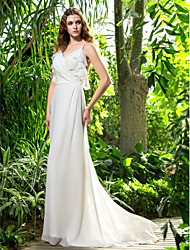 Lanting Bride® Sheath / Column Petite / Plus Sizes Wedding Dress - Chic & Modern Sweep / Brush Train Spaghetti Straps Chiffon with