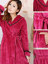 Bath Robe,High-class Woman Purple Solid Color Garment Bathrobe Thicken