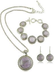 Style européen Vintage Obsidian Collier pendentif et boucles d'oreilles et bracelet Jewerly Set
