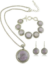 Estilo Europeu Vintage Obsidian rodada colar de pingente e brincos e bracelete Jewerly Set