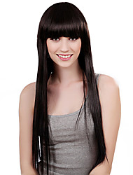 Capless Long Straight Black Synthetic Wig Full Bang