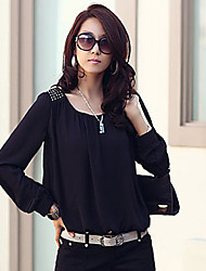 ER Women's Round Neck Long Sleeve Solid Color Shirt